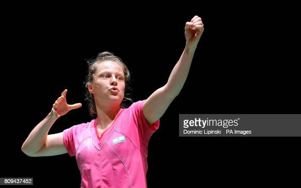 Germany's Juliane Schenk celebrates victory in her match against China's Yanjiao Jiang during the World Championships at Wembley Arena, London.