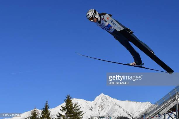 Germany's Juliane Seyfarth soars in the air during the Ladies' ski jumping event at the FIS Nordic World Ski Championships on February 27 2019 in...
