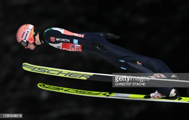 Germany's Karl Geiger soars through the air during the 1st Round of the Four-Hills Ski Jumping tournament , in Oberstdorf, southern Germany, on...