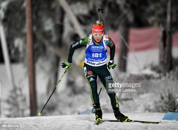 Germany´s Karolin Horchler competes during the women 15 km individual event at the IBU World Cup Biathlon in Ostersund Sweden on November 29 2017 /...