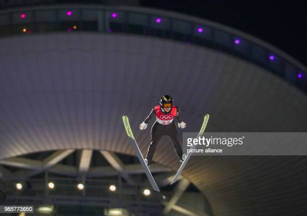 Germany's Katharina Althaus in action during the women's ski jumping at Alpensia Ski Jump Centre during the Olympic Winter Games in Pyeongchang South...
