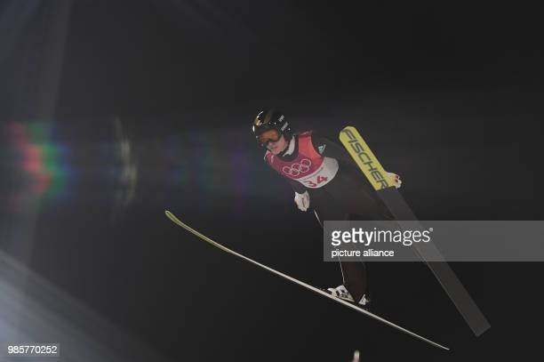 Germany's Katharina Althaus in action during training for the women's ski jumping at Alpensia Ski Jump Centre during the Olympic Winter Games in...