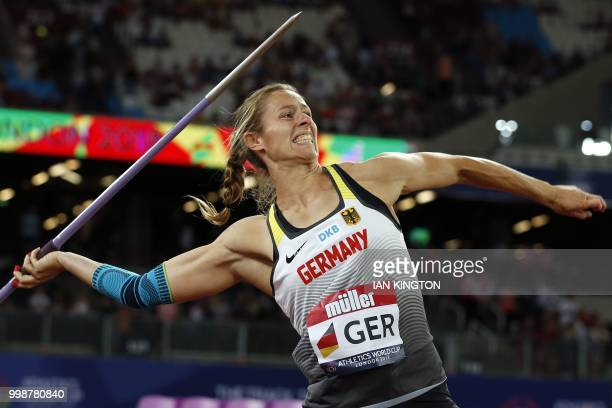 Germany's Katharina Molitor competes in the women's Javelin during the Athletics World Cup team competition at the London Stadium in London on July...