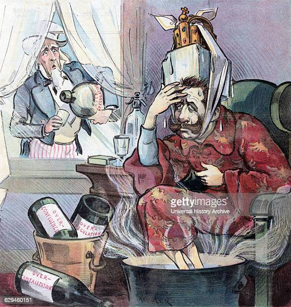 Germany's 'Katzenjammer' by Udo J Keppler Illustration shows William II German Emperor suffering from overindulgence sitting in a chair with a block...