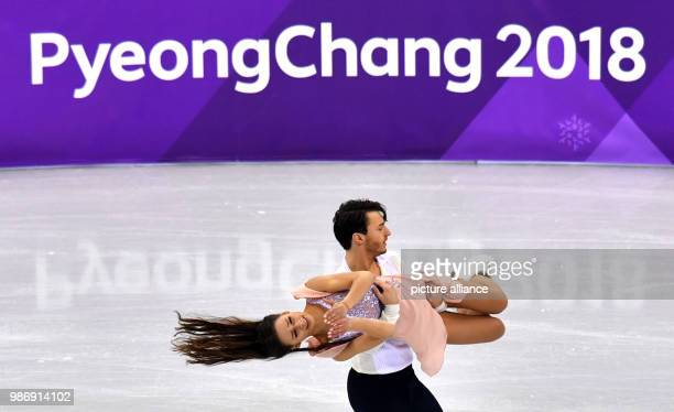 Germany's Kavita Lorenz and Panagiotis Polizoakis in action during the Ice DanceFree Dance Figure Skating event during the PyeongChang 2018 Winter...