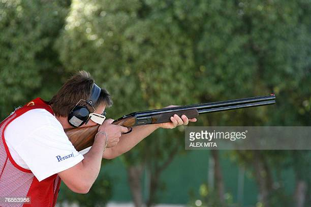 Germany's Kersten Birdich prepares to fire during men's trap final of the ISSF World Shooting Championships held in Nicosia Cyprus 06 September 2007...