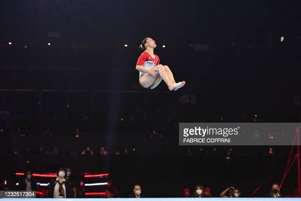 Germany's Kim Bui competes in the Women's floor apparatus final of the 2021 European Artistic Gymnastics Championships at the St Jakobshalle, in...