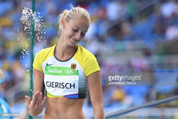 Germany's Kristin Gierisch competes in the Women's Triple Jump Qualifying Round during the athletics event at the Rio 2016 Olympic Games at the...