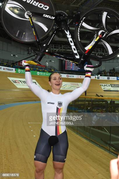 Germany's Kristina Vogel reacts after winning the women's keirin final at the Hong Kong Velodrome during the Track Cycling World Championships in...