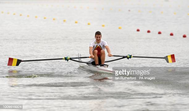 Germany's Lars Wichert in the Lightweight Men's Single Sculls during day one of the 2018 European Championships at the Strathclyde Country Park North...