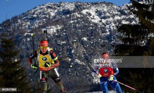 Germany's Laura Dahlmeier and Gabriela Koukalova of Czech Republic compete during the 2017 IBU World Championships Biathlon Women's 12,5 km Mass...