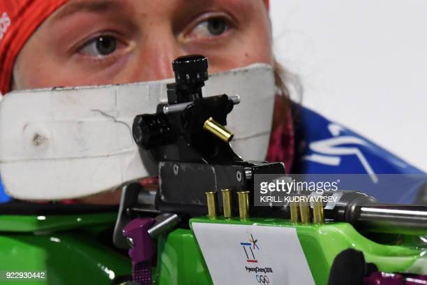 Germany's Laura Dahlmeier competes at the shooting range before the women's 4x6km biathlon event during the Pyeongchang 2018 Winter Olympic Games on...