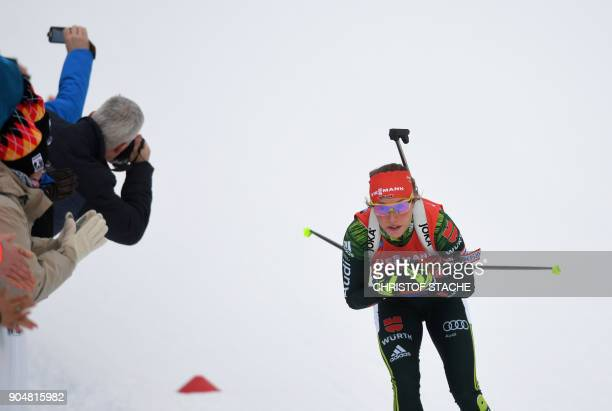Germany's Laura Dahlmeier competes during the ladies 125 kilometer mass start competition at the Biathlon World Cup on January 14 2018 in Ruhpolding...