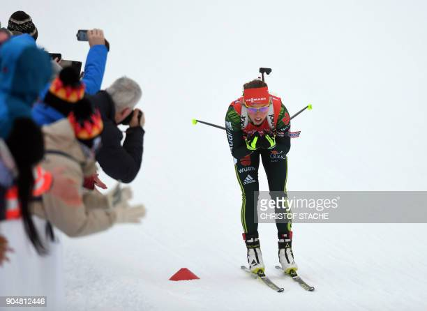 Germany's Laura Dahlmeier competes during the women 125 kilometer mass start competition of the Biathlon World Cup on January 14 2018 in Ruhpolding...