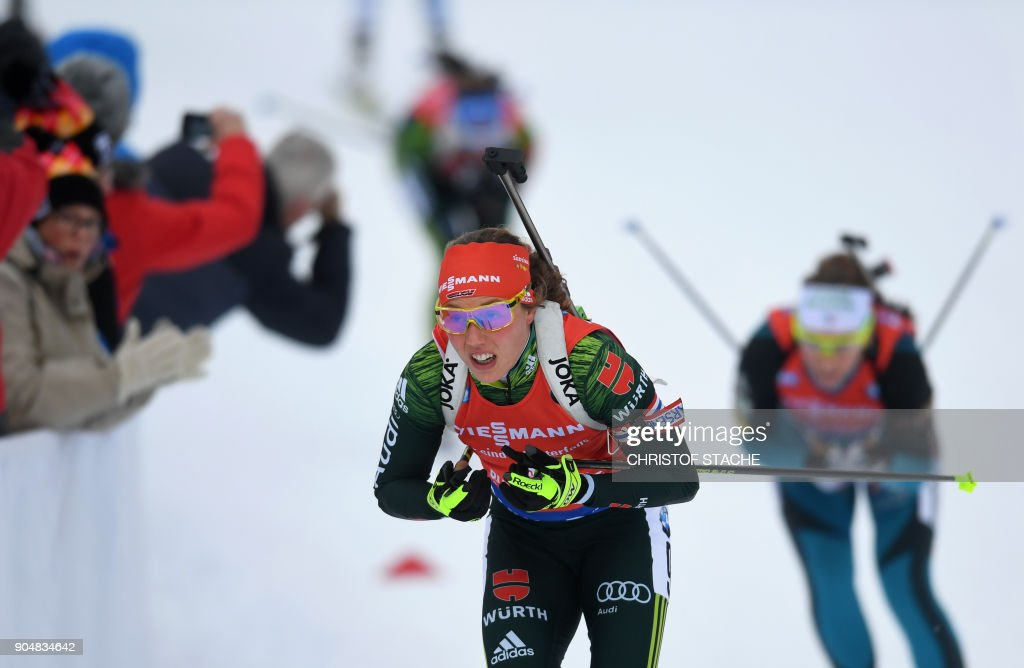 Germany's Laura Dahlmeier competes during the women's 12,5 kilometer mass start competition at the Biathlon World Cup on January 14, 2018 in Ruhpolding, southern Germany. /