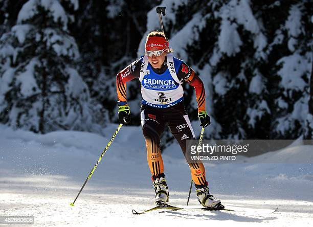 Germany's Laura Dahlmeier competes during the women's 75 km Sprint race of the IBU Biathlon World Cup on January 23 2015 in the Italian Alpine resort...