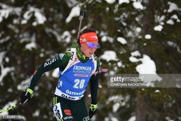 Germany's Laura Dahlmeier competes in the women's 15km individual event at the IBU Biathlon World Championships in Ostersund Sweden on March 12 2019