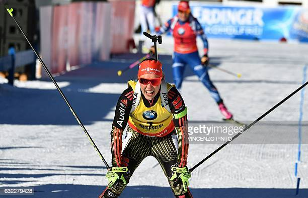 Germany's Laura Dahlmeier reacts after crossing the finish line of the Biathlon World Cup Women's 125 km Mass Start race in Anterselva on January 21...