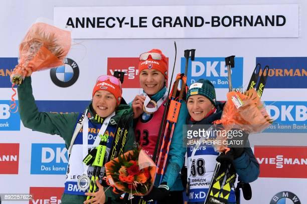 Germany's Laura Dahlmeier Slovakia's Anastasiya Kuzmina and Ukraine's Vita Semerenko pose on the podium after the 75 km Women's Sprint during the IBU...