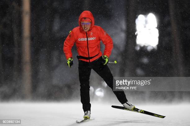 TOPSHOT Germany's Laura Dahlmeier warmsup prior to the start of the women's 4x6km biathlon event during the Pyeongchang 2018 Winter Olympic Games on...