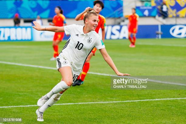 Germany's Laura Freigang celebrates after scoring a goal during the Women U20 football World Cup match between Germany and China on August 9 2018 at...
