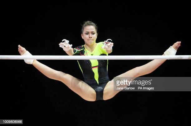 Germany's Leah Griesser on the uneven bars during day one of the 2018 European Championships at The SSE Hydro Glasgow