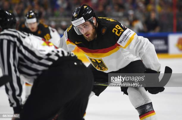 Germany´s Leon Draisaitl vies for the puck during the IIHF Ice Hockey World Championships preliminary match between Italy and Germany in Cologne...
