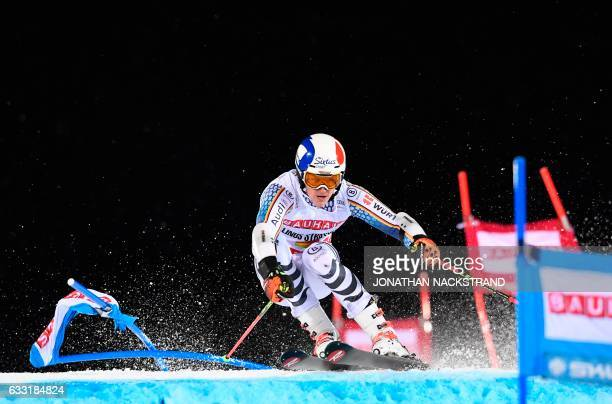 TOPSHOT Germany's Linus Strasser competes during the FIS Ski World Cup Parallel Slalom city event at Hammarbybacken in Stockholm on January 31 2017 /...