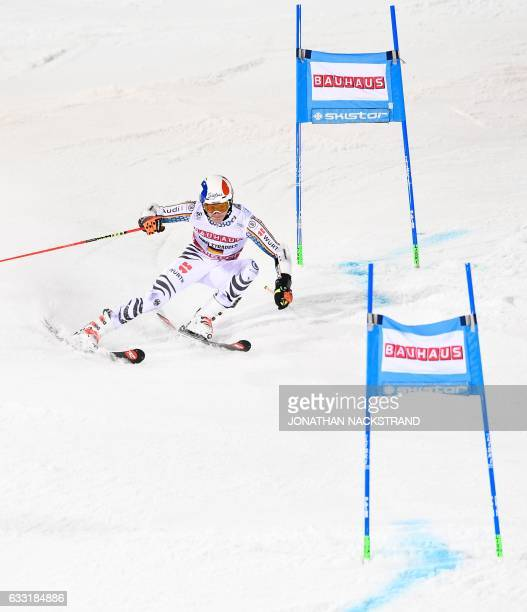 Germany's Linus Strasser competes during the FIS Ski World Cup Parallel Slalom city event at Hammarbybacken in Stockholm on January 31, 2017. / AFP /...