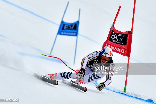 Germany's Linus Strasser competes during the men's SuperG combined event of the FIS Alpine Ski World Cup in Bansko on February 22 2019