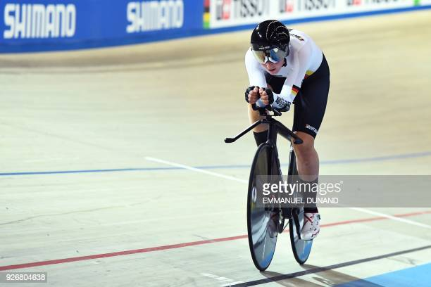 Germany's Lisa Brennauer competes in the women's individual pursuit bronze medal race during the UCI Track Cycling World Championships in Apeldoorn...