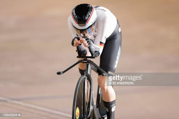 Germany's Lisa Klein competes in the women's individual pursuit final at the UCI track cycling World Championship at the velodrome in Berlin on...