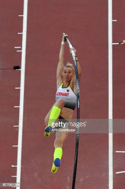 Germany's Lisa Ryzih competes in the final of the women's pole vault athletics event at the 2017 IAAF World Championships at the London Stadium in...