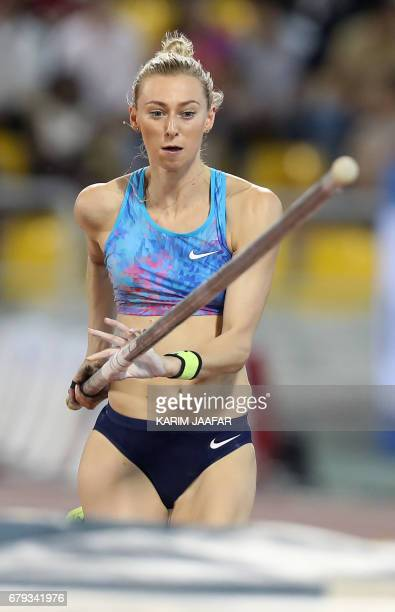 Germany's Lisa Ryzih competes in the women's pole vault during the Diamond League athletics competition at the Suhaim bin Hamad Stadium in Doha on...
