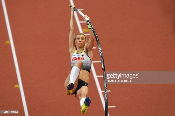 Germany's Lisa Ryzih competes in the women's pole vault final at the 2017 European Athletics Indoor Championships in Belgrade on March 4 2017 / AFP...