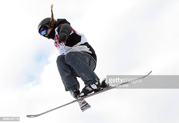 Germany's Lisa Zimmermann competes in the Women's Freestyle Skiing Slopestyle qualification at the Rosa Khutor Extreme Park during the Sochi Winter...