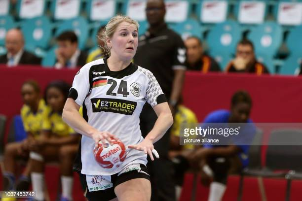 Germany's Lone Fischer in action during a handball match between Germany and the DR Congo at the IHF Women's Handball World Championship in Kolding...