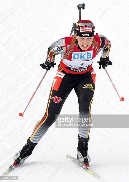 Germany's Magdalena Neuner competes to win the IBU World Cup biathlon final Women's 10 km pursuit17 March 2007 in the Siberian city of KhantyMansiysk...