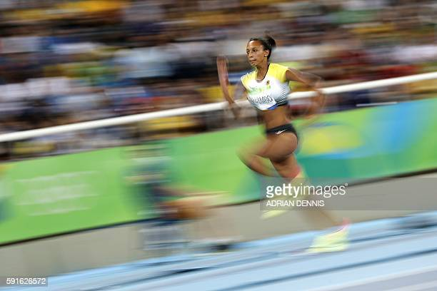 Germany's Malaika Mihambo competes in the Women's Long Jump Final during the athletics event at the Rio 2016 Olympic Games at the Olympic Stadium in...