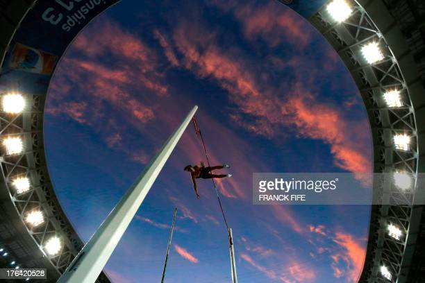Germany's Malte Mohr competes in the men's pole vault final at the 2013 IAAF World Championships at the Luzhniki stadium in Moscow on August 12,...