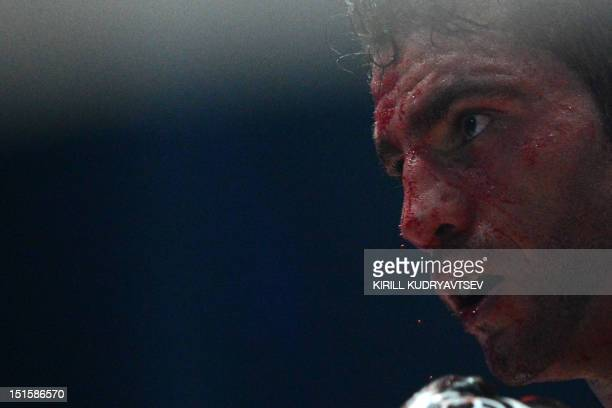 Germany's Manuel Charr reacts in Moscow early on September 9 2012 during his WBC heavyweight fight against Ukraine's twotime World Heavyweight...