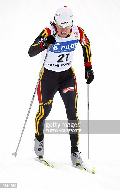 Germany's Manuela Henkel in action during the 12 km Women sprint World Cup event at Val di Fiemme 16 December 2003 World champion Marit Bjoergen beat...