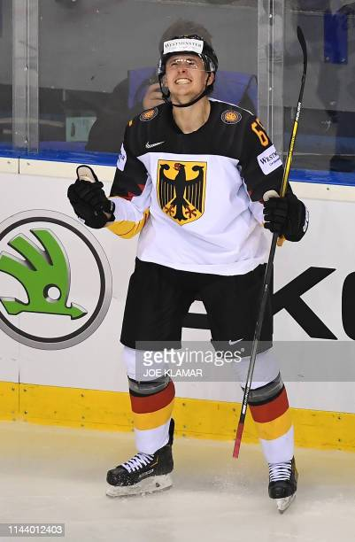 Germany's Marc Michaels celebrates after scoring during the group A stage match Germany vs Slovakia of the 2019 IIHF Ice Hockey World Championship at...