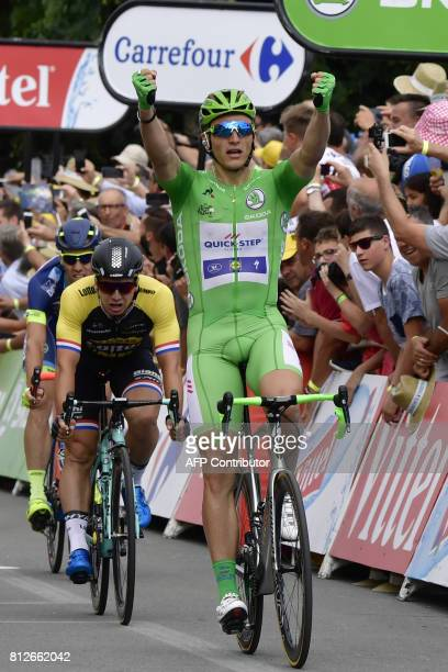 Germany's Marcel Kittel celebrates as he crosses the finish line at the end of the 178 km tenth stage of the 104th edition of the Tour de France...