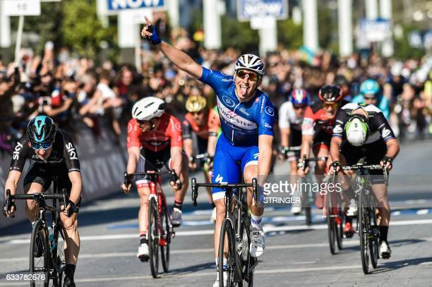Germany's Marcel Kittel from Belgium's QuickStep Floors Team reacts upon winning the Merass stage 5 during the Dubai Tour 2017 on February 4 2017...