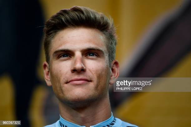 Germany's Marcel Kittel of Switzerland's Katusha Alpecin cycling team stands on stage during the team presentation ceremony on July 5, 2018 in La...