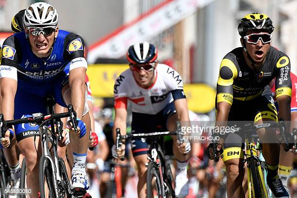 Germany's Marcel Kittel reacts after crossing the finish line ahead of France's Bryan Coquard during the 2375 km fourth stage of the 103rd edition of...