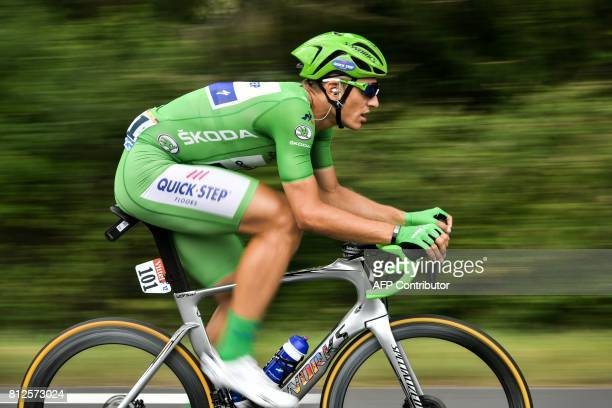 Germany's Marcel Kittel wearing the best sprinter's green jersey rides during the 178 km tenth stage of the 104th edition of the Tour de France...