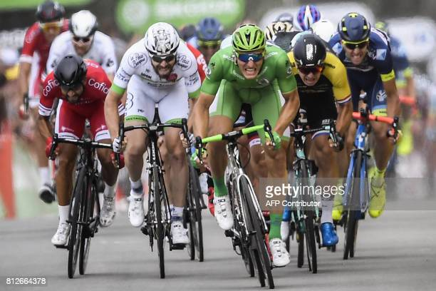 Germany's Marcel Kittel wearing the best sprinter's green jersey sprints to win ahead of France's Nacer Bouhanni and Netherlands' Dylan Groenewegen...