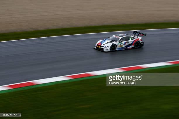 Germany's Marco Wittmann takes part in the second free practice session at the DTM Deutsche Tourenwagen Meisterschaft at the Red Bull Ring in...